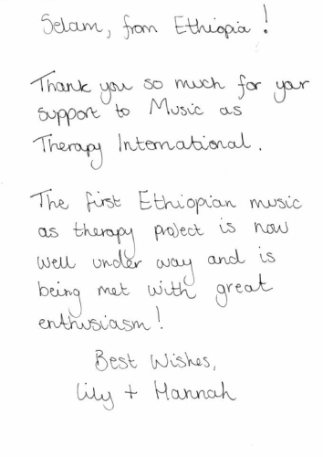 A thank you from Music as Therapy